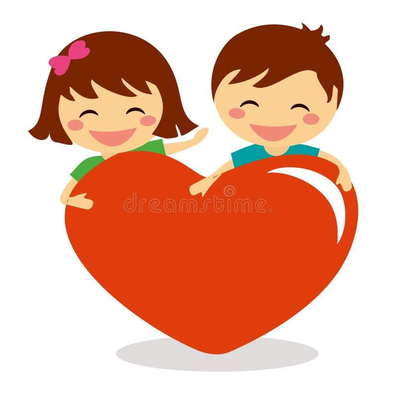 Crianças de Valentine Day que guardam o coração ilustração do vetor
