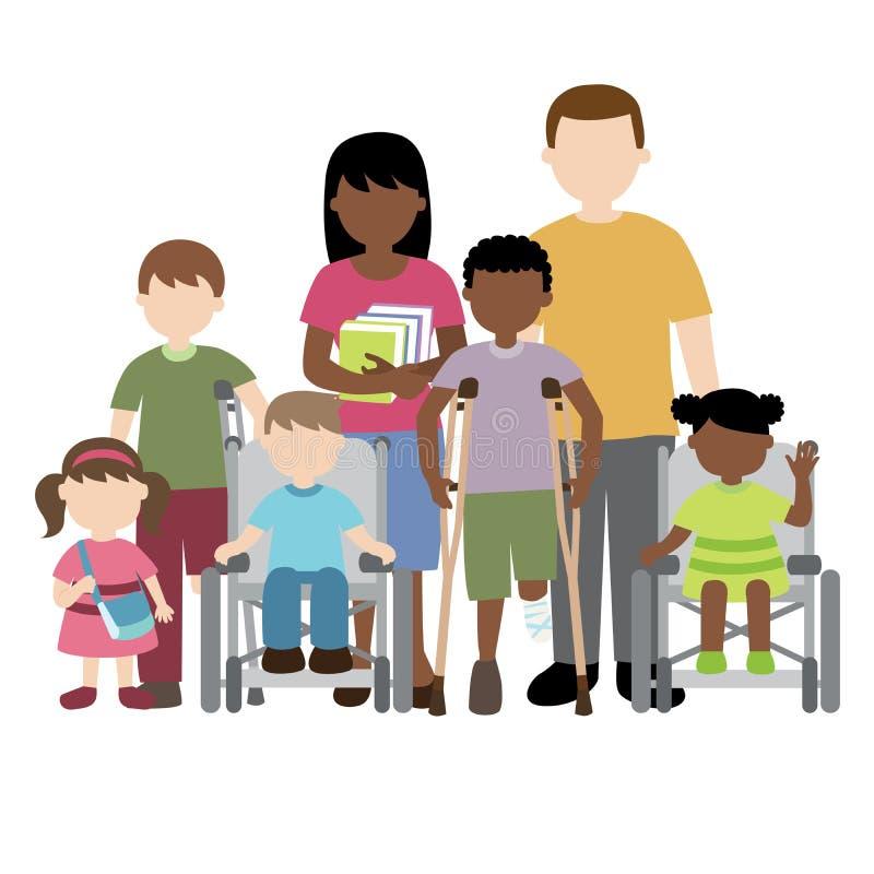 Crianças deficientes com amigos e professor ilustração stock
