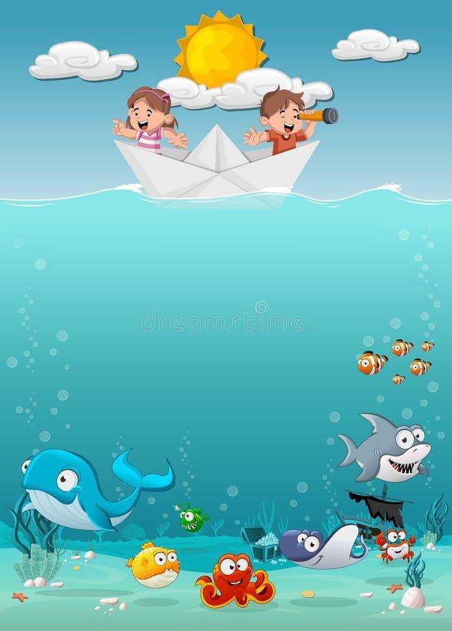 Crianças dentro de um barco de papel no oceano com os peixes sob a água ilustração do vetor