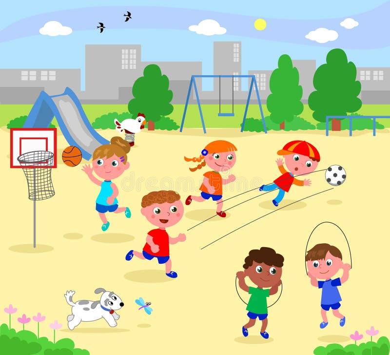 Crianças desportivos no parque ilustração do vetor