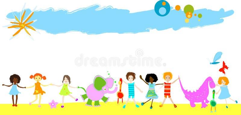 Crianças, dinossauros e outros animais pequenos ilustração do vetor