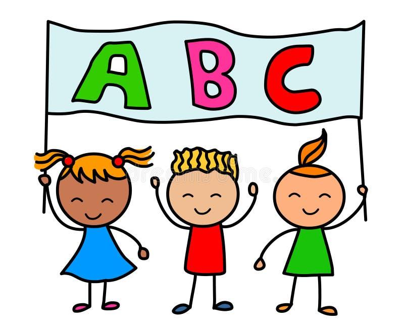 Crianças do alfabeto Crianças dos desenhos animados que guardam a bandeira do alfabeto ilustração royalty free