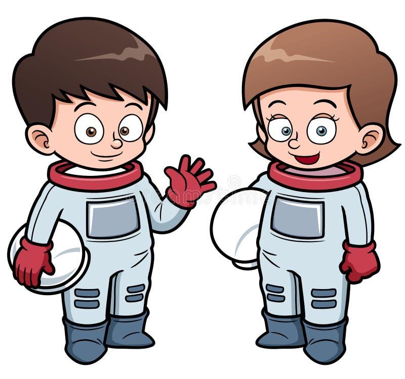 Crianças do astronauta dos desenhos animados ilustração do vetor