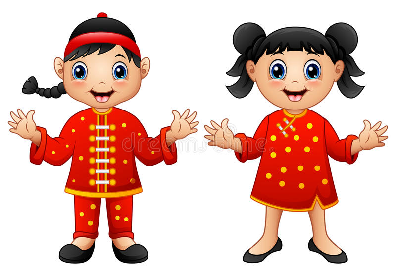 Crianças do chinês dos desenhos animados ilustração stock