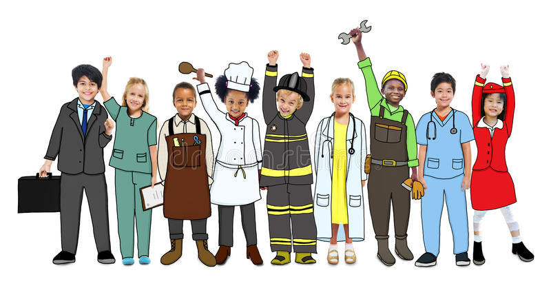 Crianças do grupo que estão o conceito do uniforme da variação ilustração stock