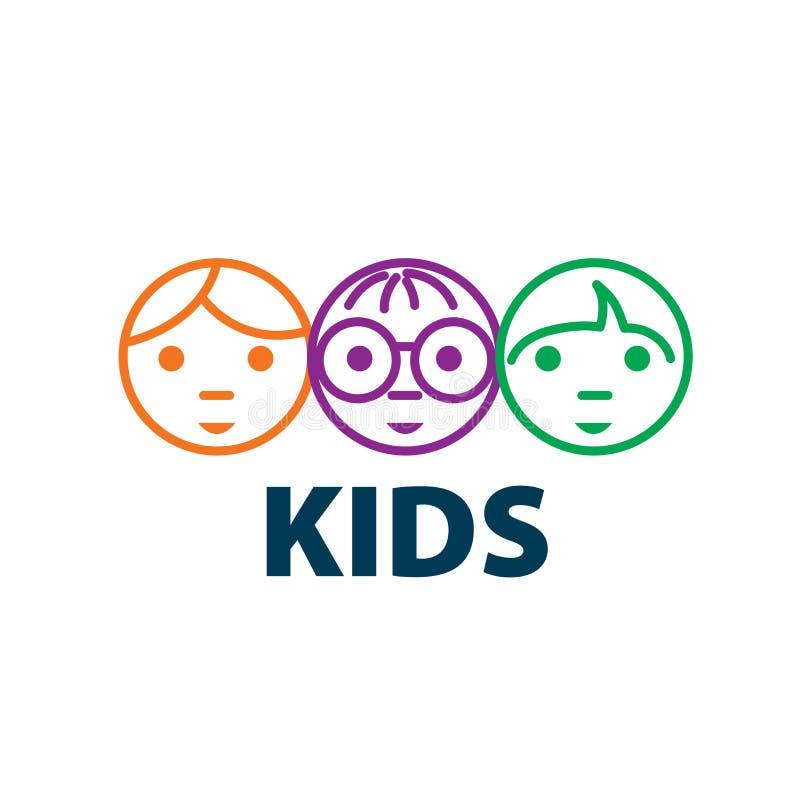 Crianças do logotipo do vetor ilustração stock