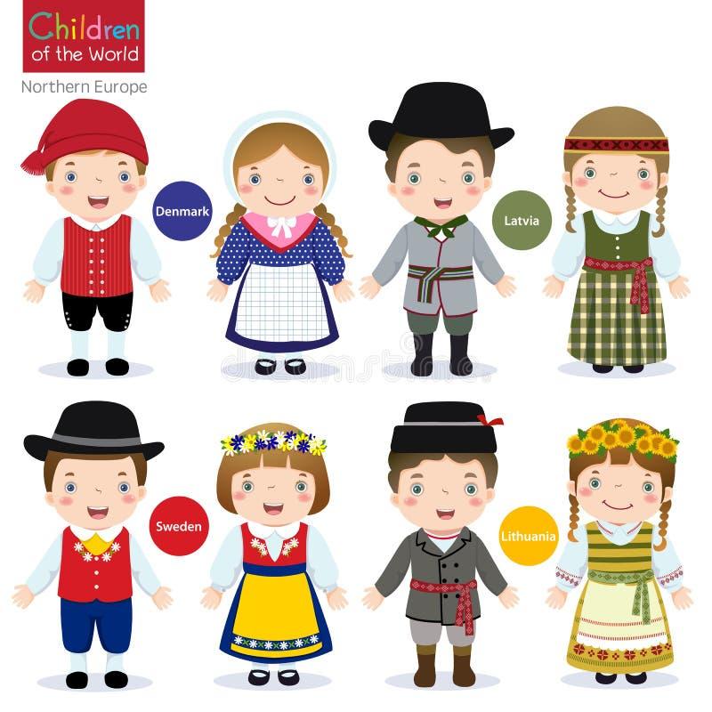 Crianças do mundo (Dinamarca, Letónia, Suécia e Lituânia) ilustração stock