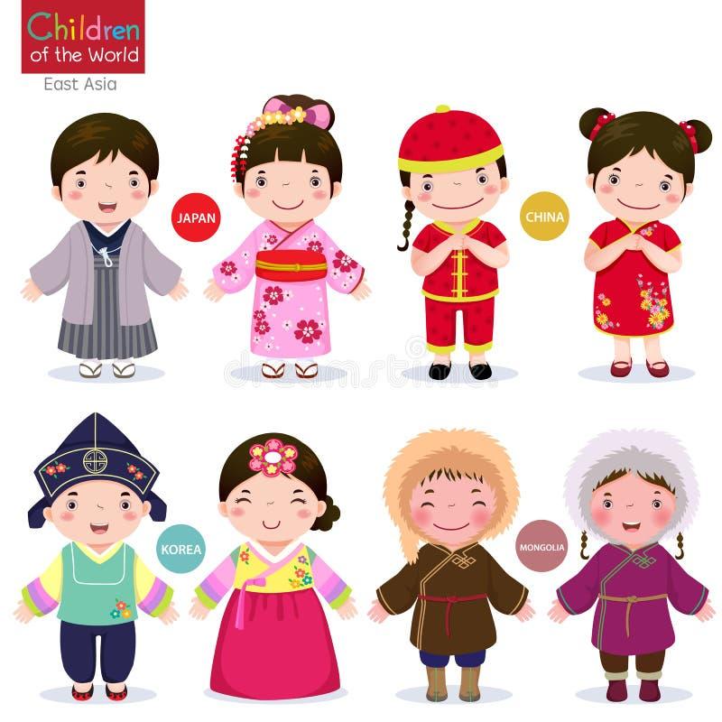 Crianças do mundo; Japão, China, Coreia e Mongólia ilustração royalty free