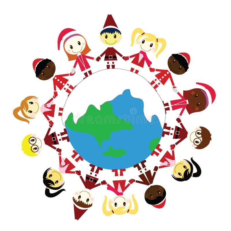 crianças do Natal no mundo ilustração do vetor