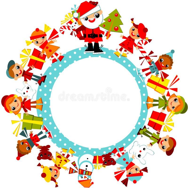 Crianças do Natal no planeta. ilustração do vetor