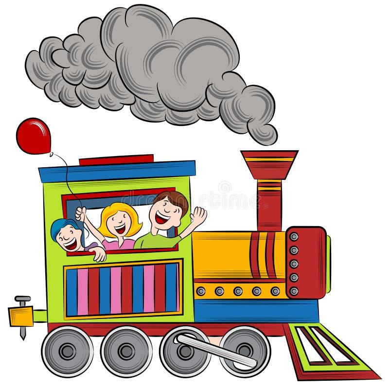 Crianças do passeio do trem ilustração stock