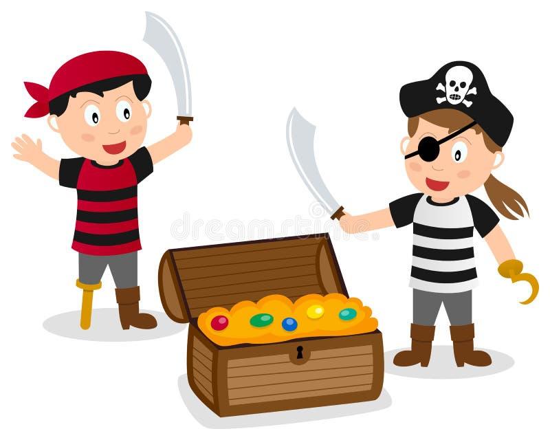 Crianças do pirata com caixa do tesouro ilustração do vetor