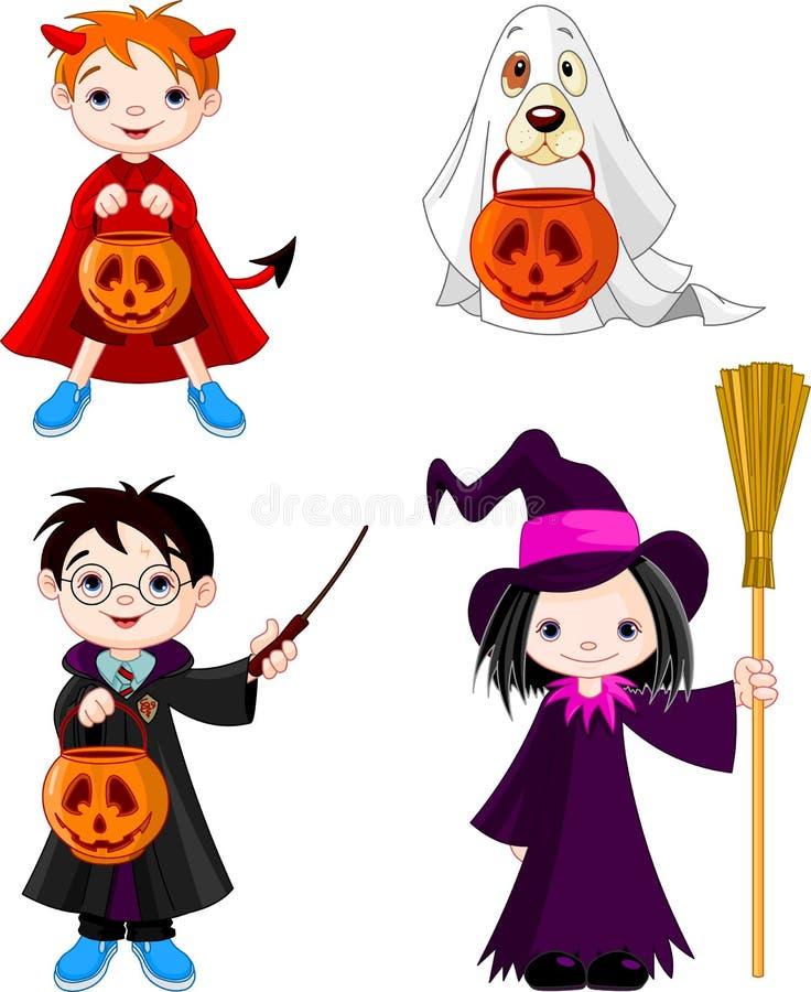 Crianças do truque ou do tratamento de Halloween ilustração royalty free