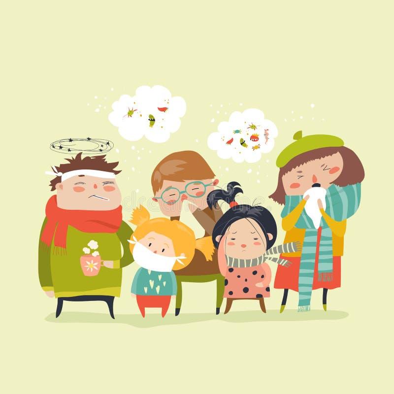 Crianças doentes com febre, doença ilustração royalty free