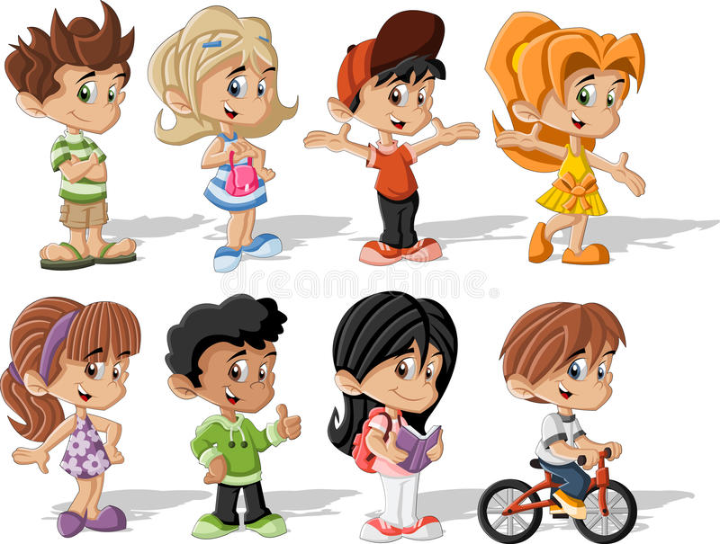 Crianças dos desenhos animados ilustração do vetor