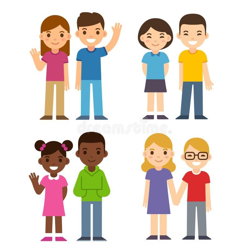 Crianças dos desenhos animados ajustadas ilustração royalty free
