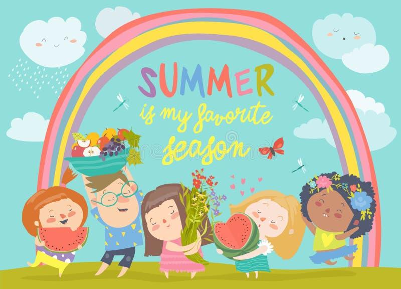 Crianças dos desenhos animados com flores e frutos Ol?! ver?o ilustração stock