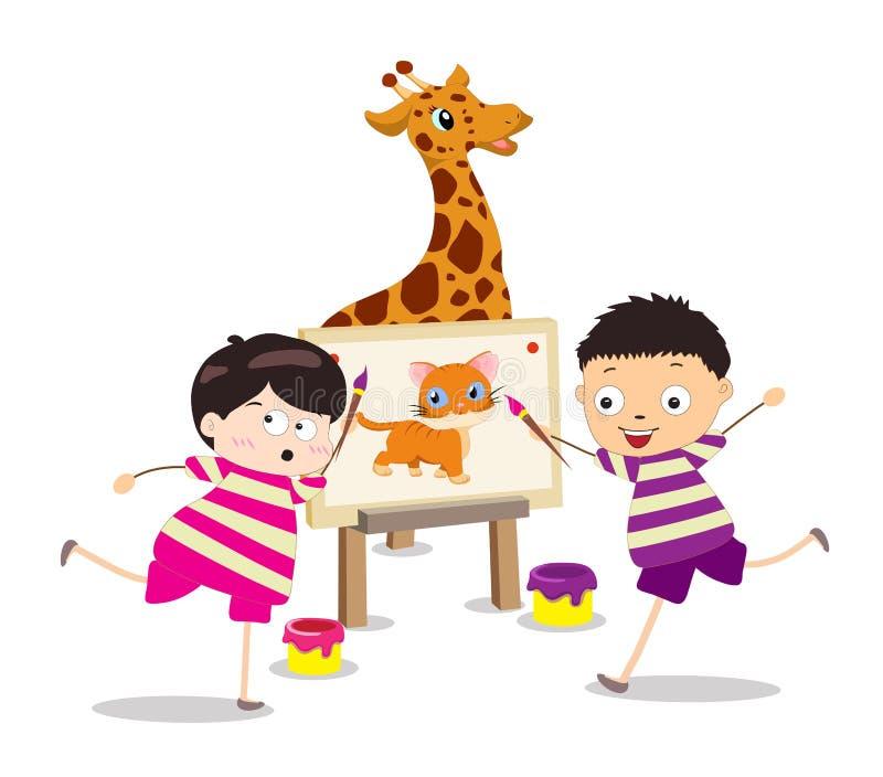 Crianças dos desenhos animados com pintura ilustração stock