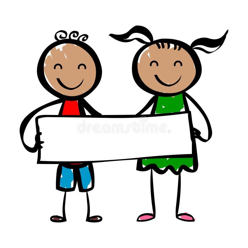 Crianças dos desenhos animados das crianças da bandeira com bandeira ilustração royalty free