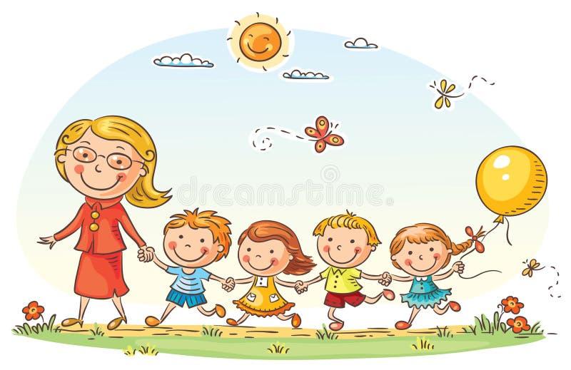Crianças dos desenhos animados e seu professor Outdoors ilustração stock