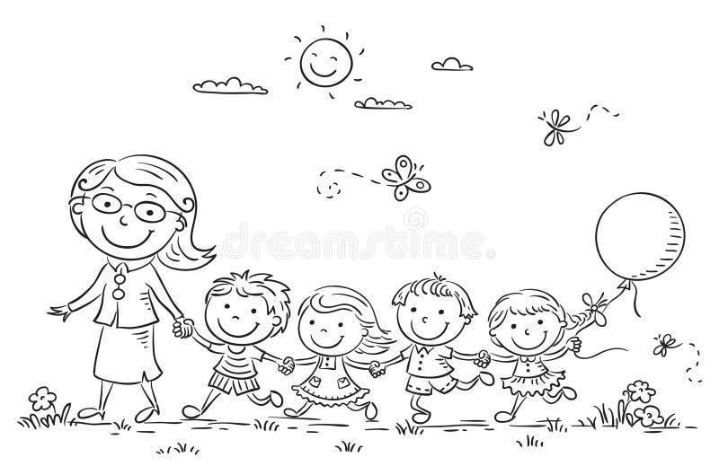 Crianças dos desenhos animados e seu professor Outdoors, esboço ilustração royalty free
