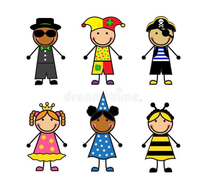 Crianças dos desenhos animados em trajes diferentes do carnaval ilustração royalty free