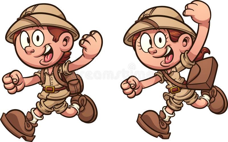 Crianças dos desenhos animados que correm com trajes do safari ilustração royalty free