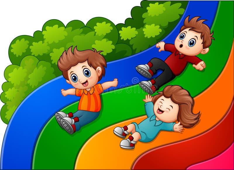 Crianças dos desenhos animados que deslizam para baixo ilustração stock