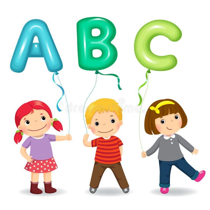 Crianças dos desenhos animados que guardam balões dados forma ABC da letra ilustração royalty free
