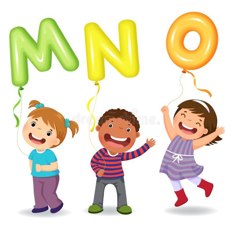 Crianças dos desenhos animados que guardam balões dados forma MNO da letra ilustração stock