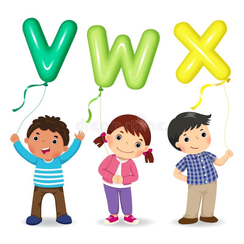 Crianças dos desenhos animados que guardam balões dados forma VWX da letra ilustração royalty free