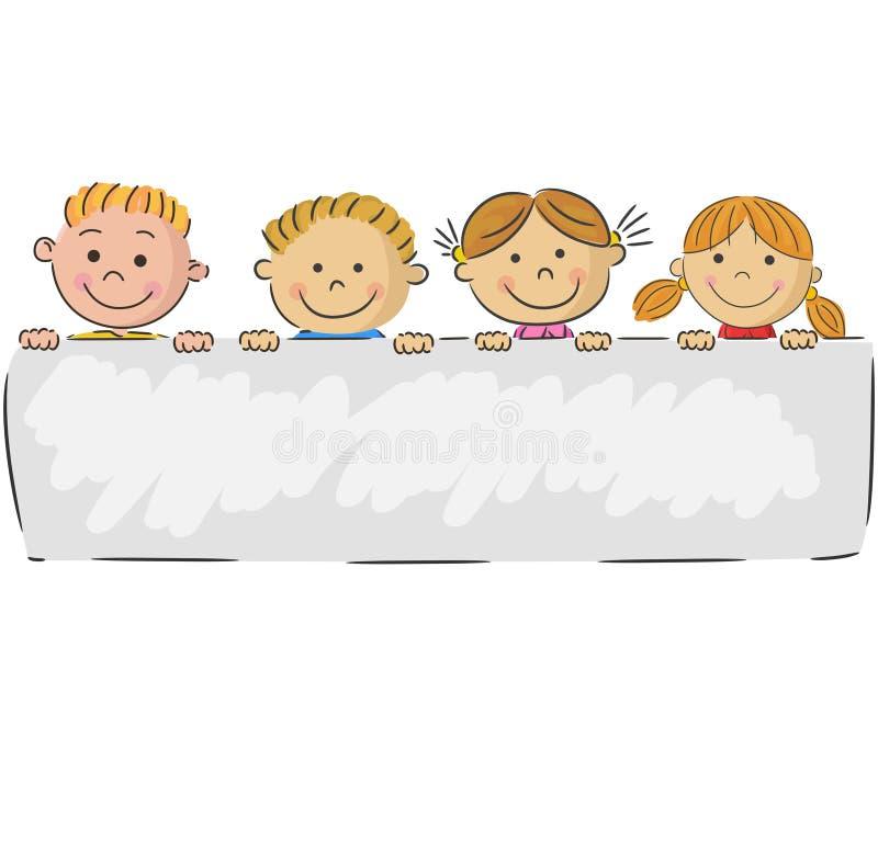 Crianças dos desenhos animados que guardam a bandeira ilustração royalty free