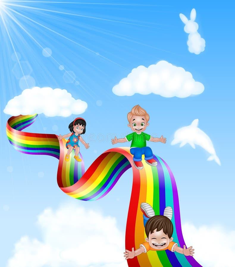 Crianças dos desenhos animados que jogam a corrediça no arco-íris ilustração stock