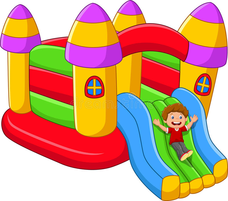 Crianças dos desenhos animados que jogam no balão do palácio ilustração royalty free
