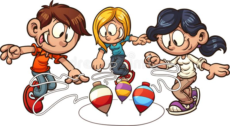Crianças dos desenhos animados que jogam a parte superior de giro ilustração do vetor