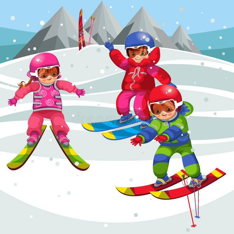 Crianças dos desenhos animados que têm o divertimento em esquis no feriado de inverno ilustração stock