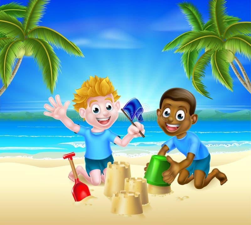 Crianças dos desenhos animados que têm o divertimento na areia ilustração do vetor