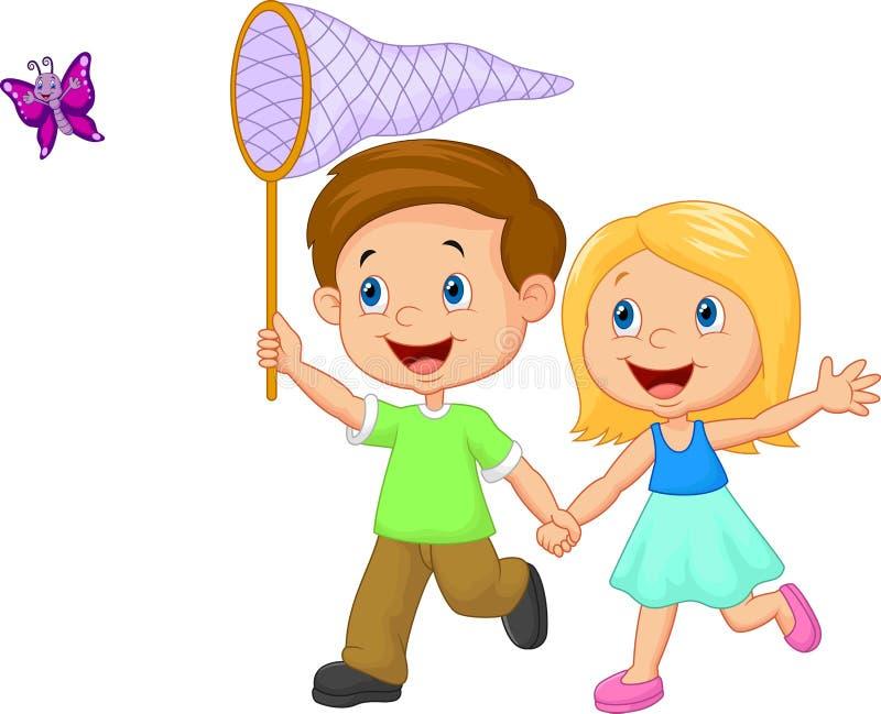 Crianças dos desenhos animados que travam a borboleta ilustração royalty free