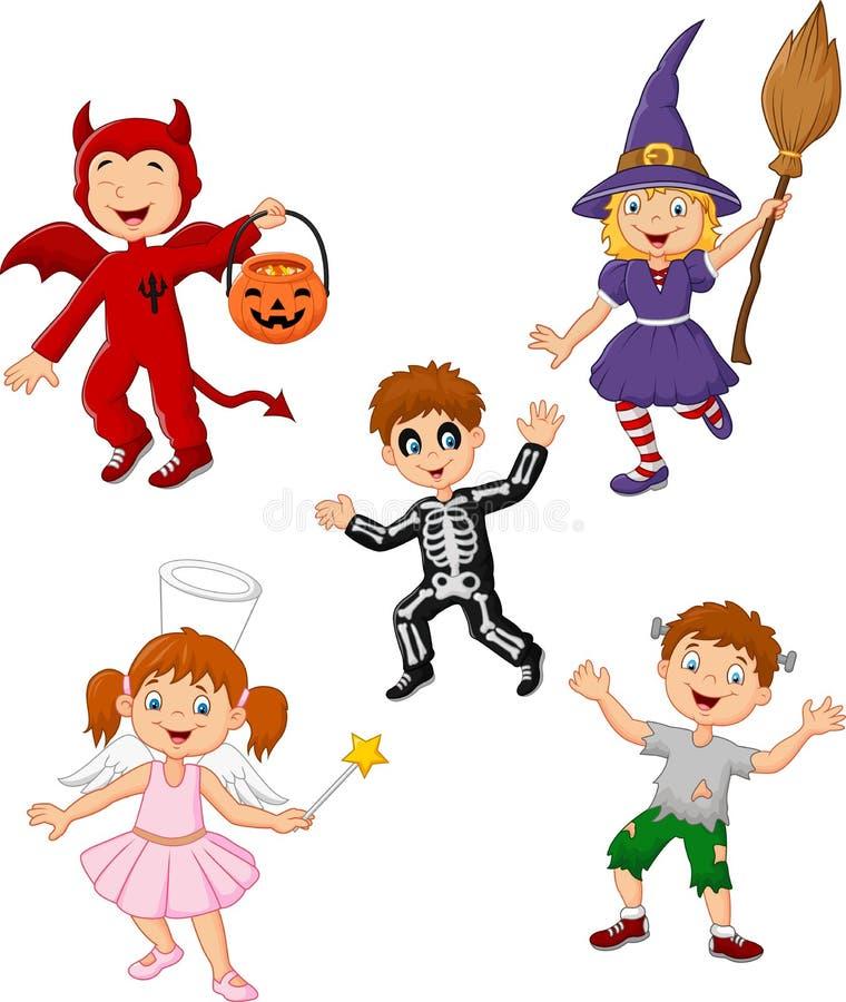 Crianças dos desenhos animados que vestem o grupo da coleção do traje de Dia das Bruxas ilustração royalty free