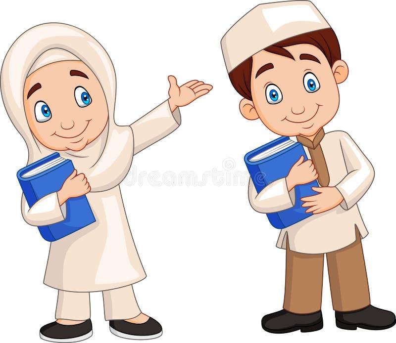 Crianças dos muçulmanos dos desenhos animados ilustração royalty free