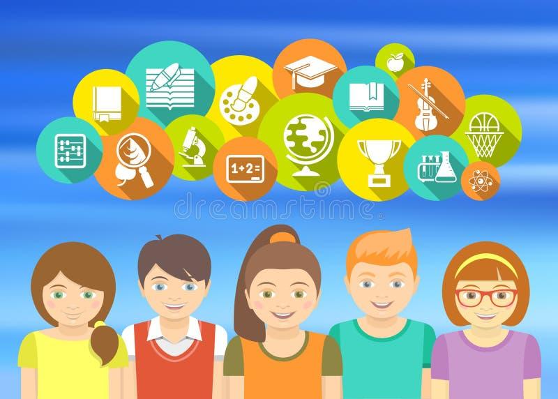 Crianças e ícones felizes da escola ilustração royalty free