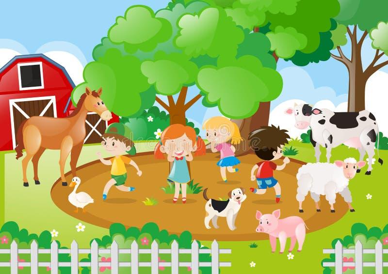 Crianças e animais de exploração agrícola na exploração agrícola ilustração do vetor