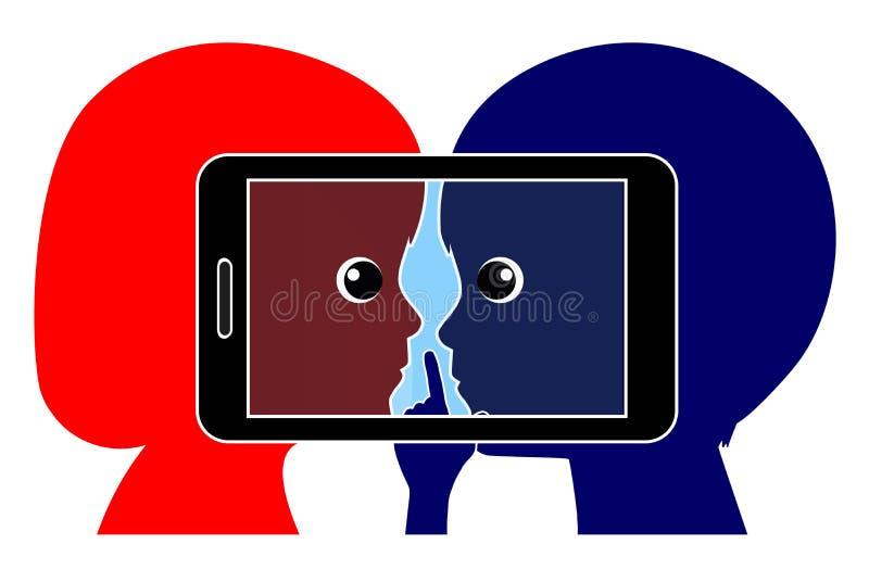 Crianças e Apps móvel secreto ilustração stock