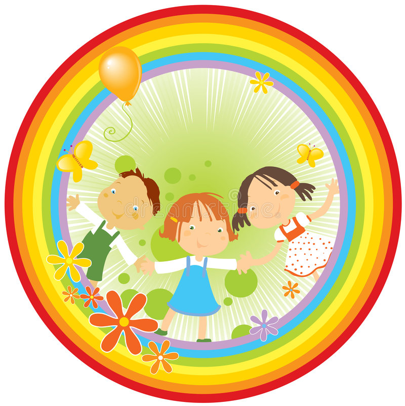 Crianças e arco-íris ilustração stock