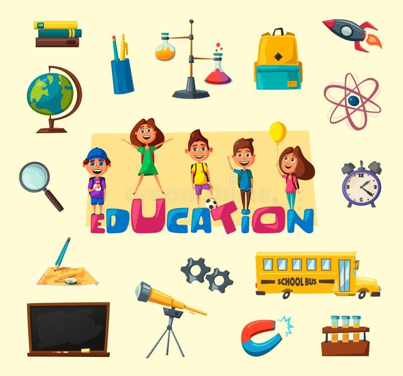 Crianças e bandeira da educação Ilustração do vetor dos desenhos animados ilustração do vetor