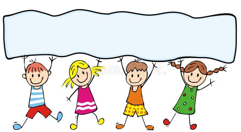 Crianças e bandeira felizes, ícone do vetor, ilustração engraçada ilustração stock