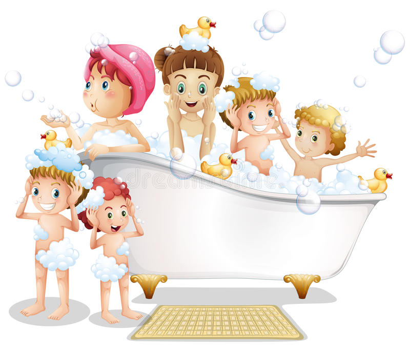 Crianças e banho ilustração do vetor