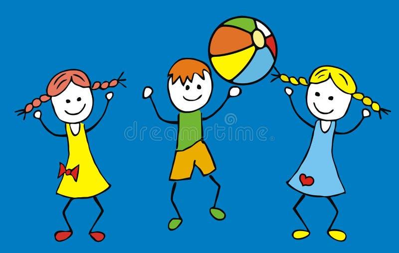 Crianças e bola ilustração royalty free