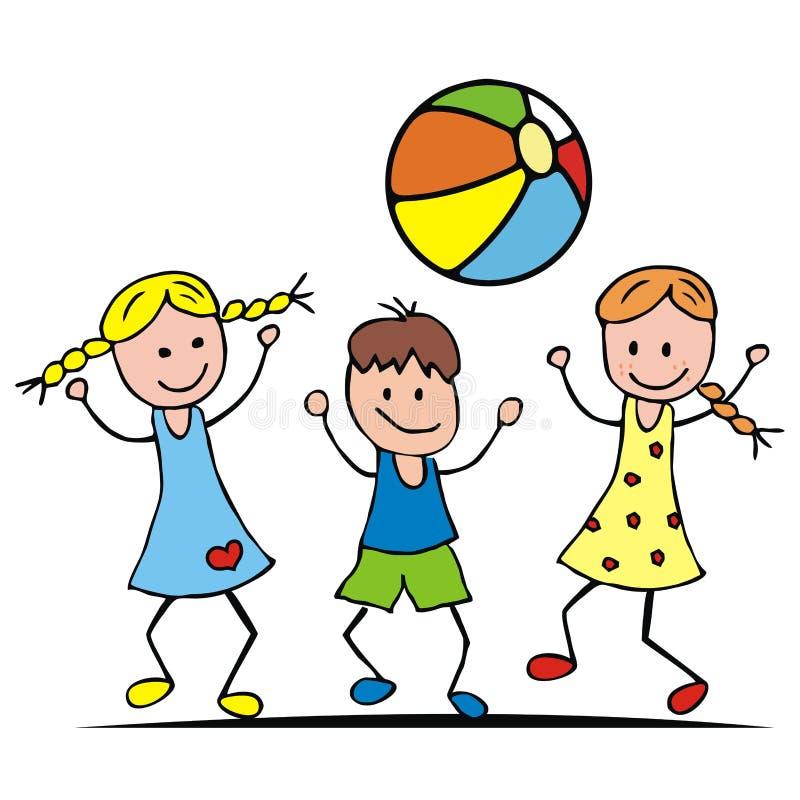 Crianças e bola ilustração do vetor