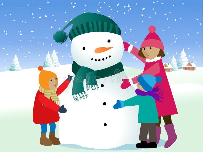 Crianças e boneco de neve ilustração royalty free